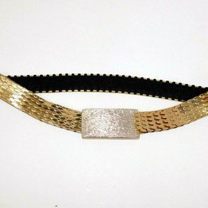 VTG 80s Gold tone Silver Buckle Stretch Belt Women